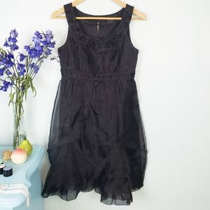 BCBG Paris black coctail dress w sheer overlayNWOT